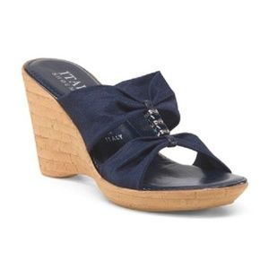ITALIAN SHOEMAKERS Stretch Wedges Navy Blue w Bead